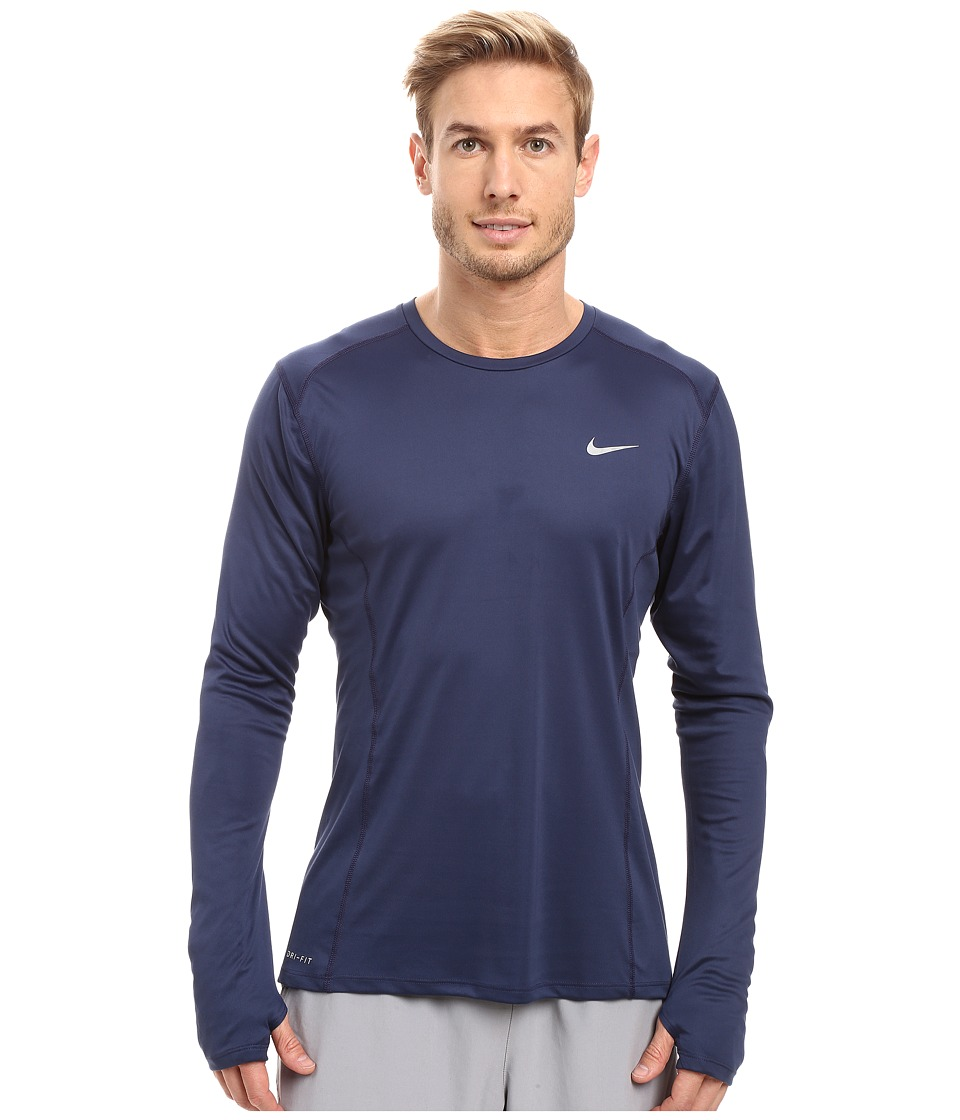 Nike - Dry Miler Long Sleeve Running Top (Midnight Navy/Reflective Silver) Men's Workout