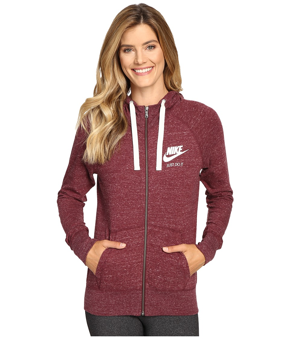 Nike - Gym Vintage Full Zip Hoodie (Night Maroon/Sail) Women's Sweatshirt