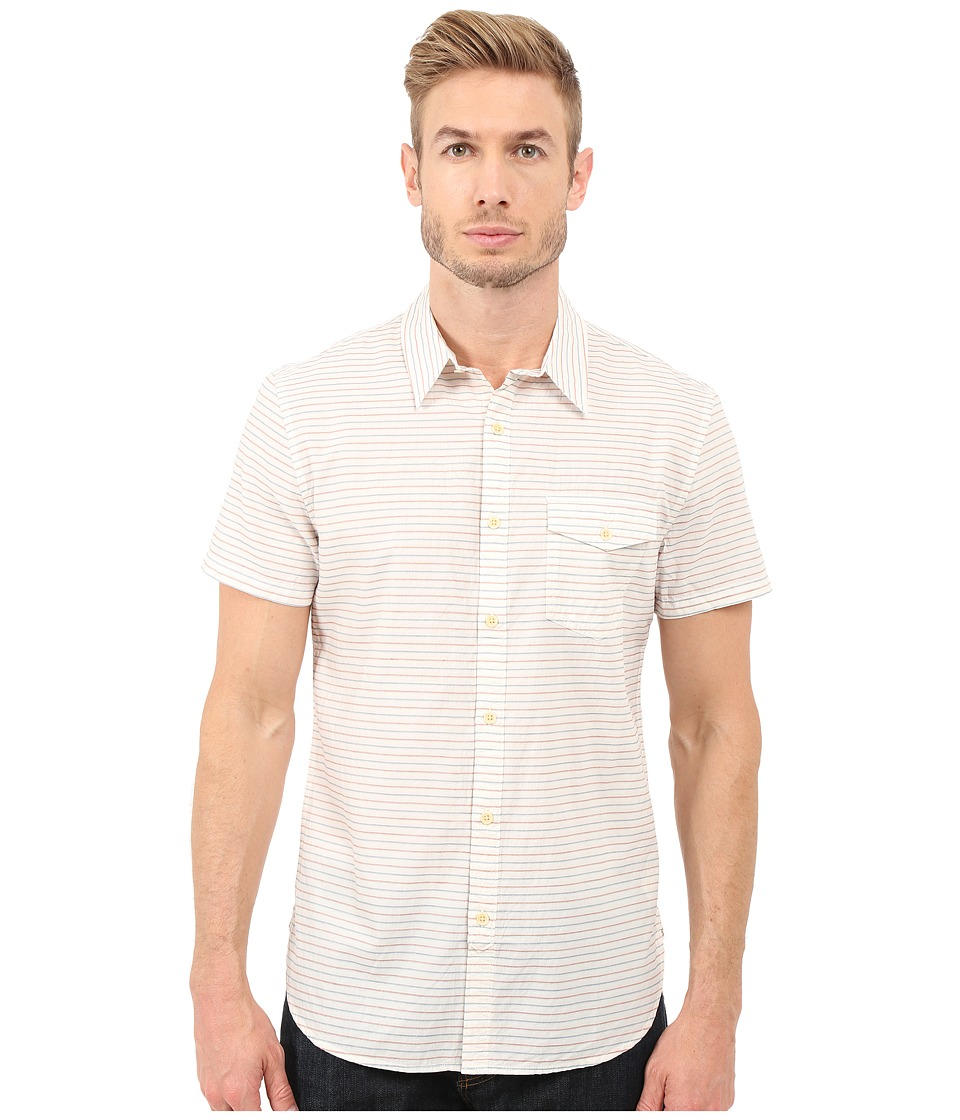 Lucky Brand Short Sleeve One-Pocket Shirt (Natural/Orange/Navy Stripe) Men