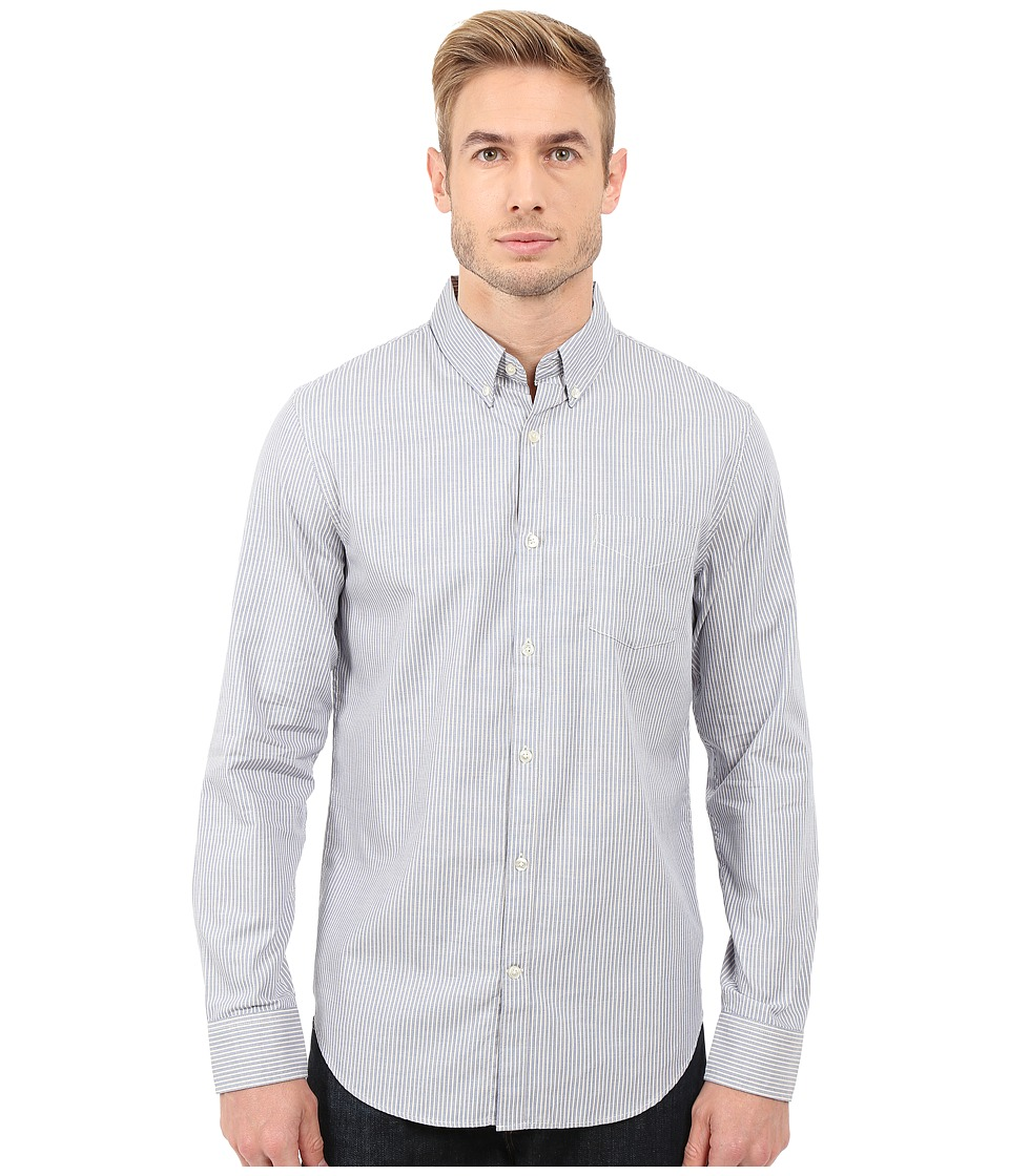 Lucky Brand - Washed White Label Shirt (Stripe Light Blue) Men's Clothing