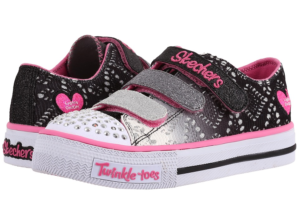 SKECHERS KIDS - Twinkle Toes - Shuffles 10612L Lights (Little Kid/Big Kid) (Black/Silver/Pink) Girls Shoes