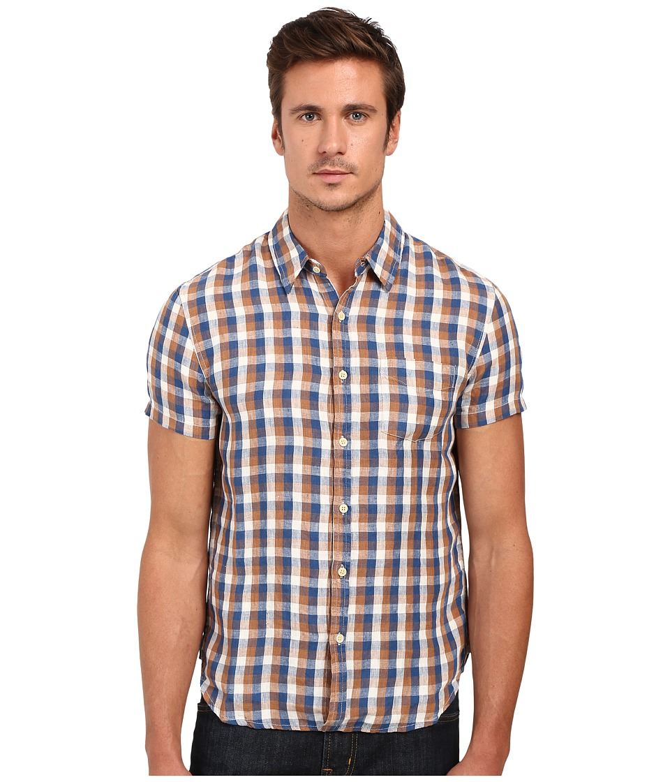 Lucky Brand - Short Sleeve One-Pocket Shirt (Brown/Blue/White Gingham) Men's Clothing