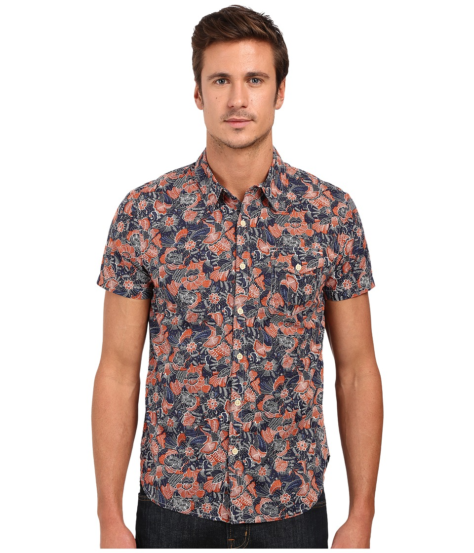 Lucky Brand Short Sleeve One-Pocket Shirt (Rust/Navy Ethnic Print) Men