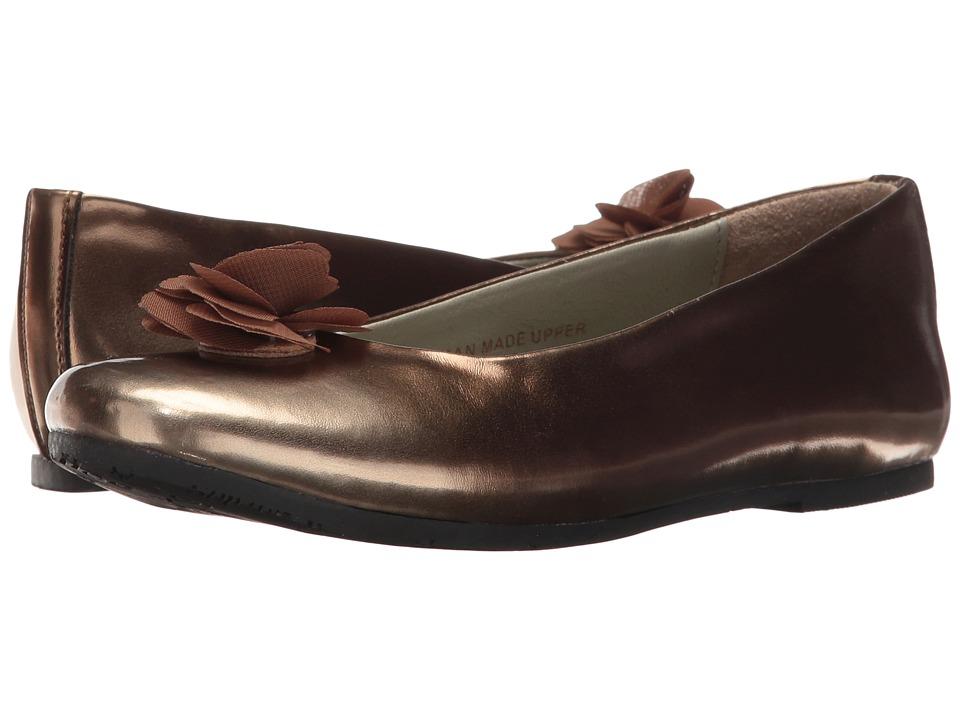Pazitos - Silk Flower BF PU (Little Kid/Big Kid) (Brown) Girls Shoes