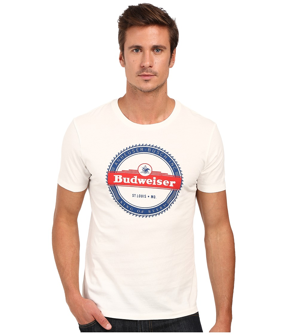 Lucky Brand - Budweiser Stripe Graphic Tee (Marshmallow) Men's T Shirt