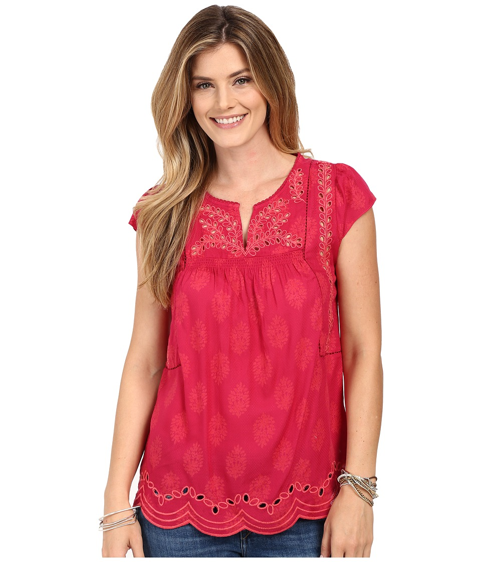 Lucky Brand - Cut Out Embroidered Top (Fuchsia Multi) Women's Blouse