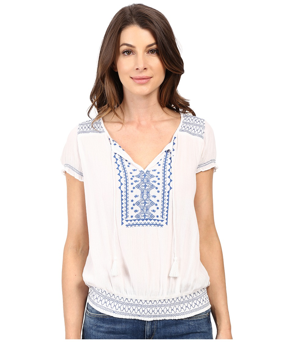 Lucky Brand - Embroidered Smock Top (Lucky White) Women's Blouse