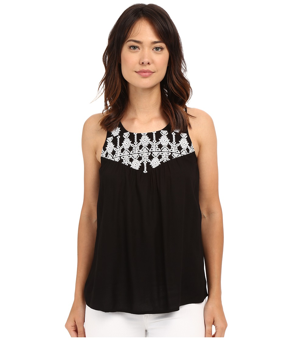 Lucky Brand - Geo Embroidery Bib Top (Lucky Black) Women's Clothing