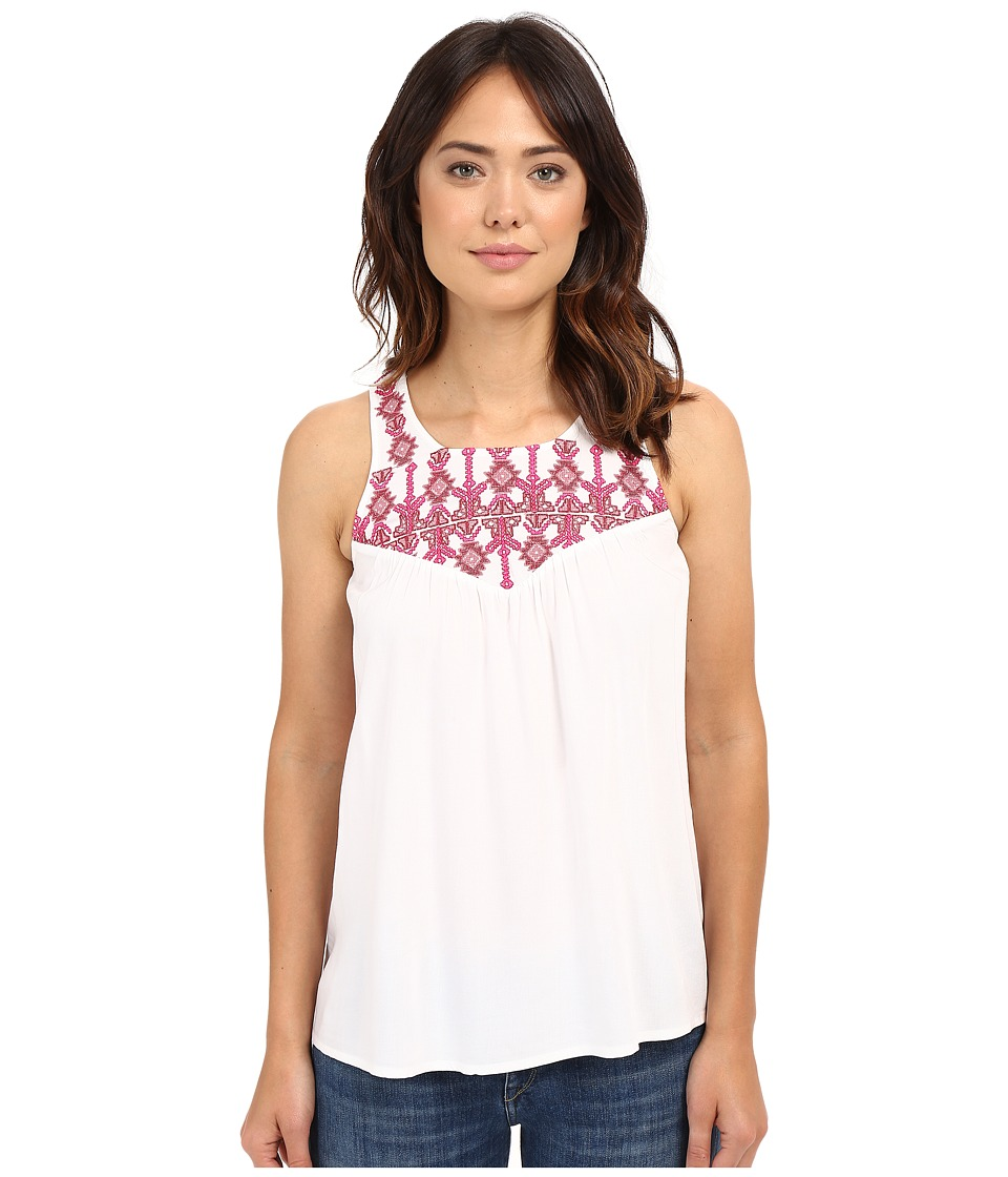 Lucky Brand - Geo Embroidery Bib Top (Lucky White) Women's Clothing