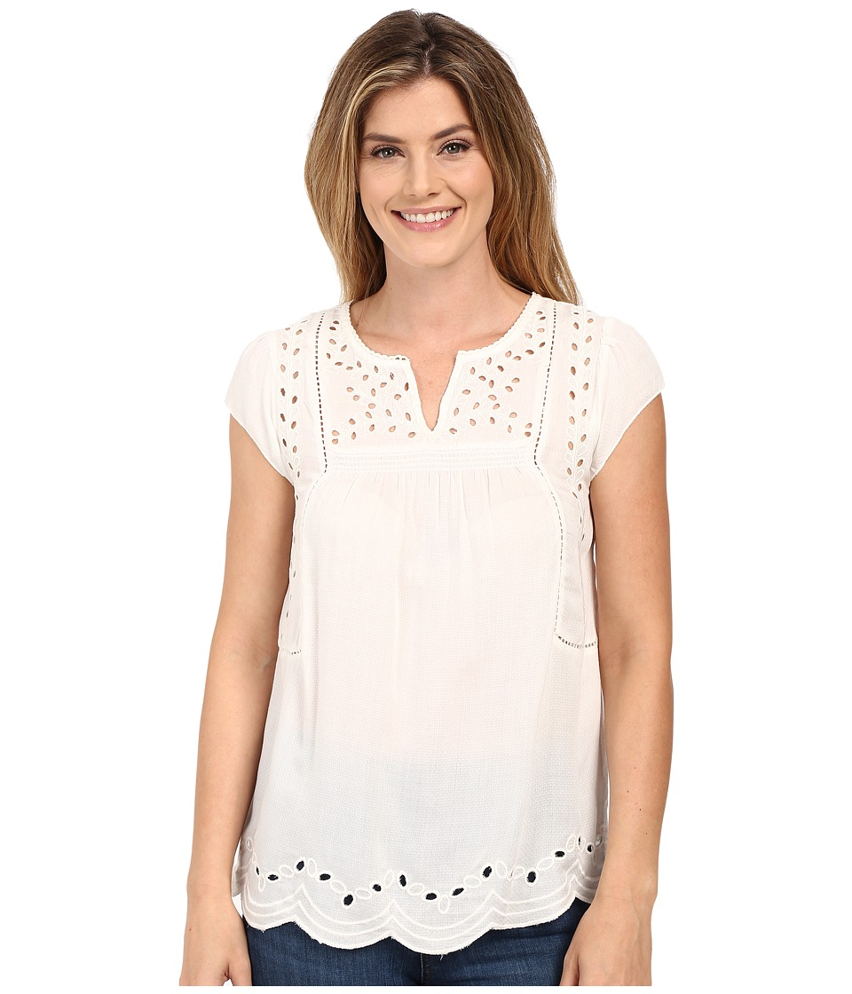 Lucky Brand - Cut Out Embroidered Top (Lucky White) Women's Blouse