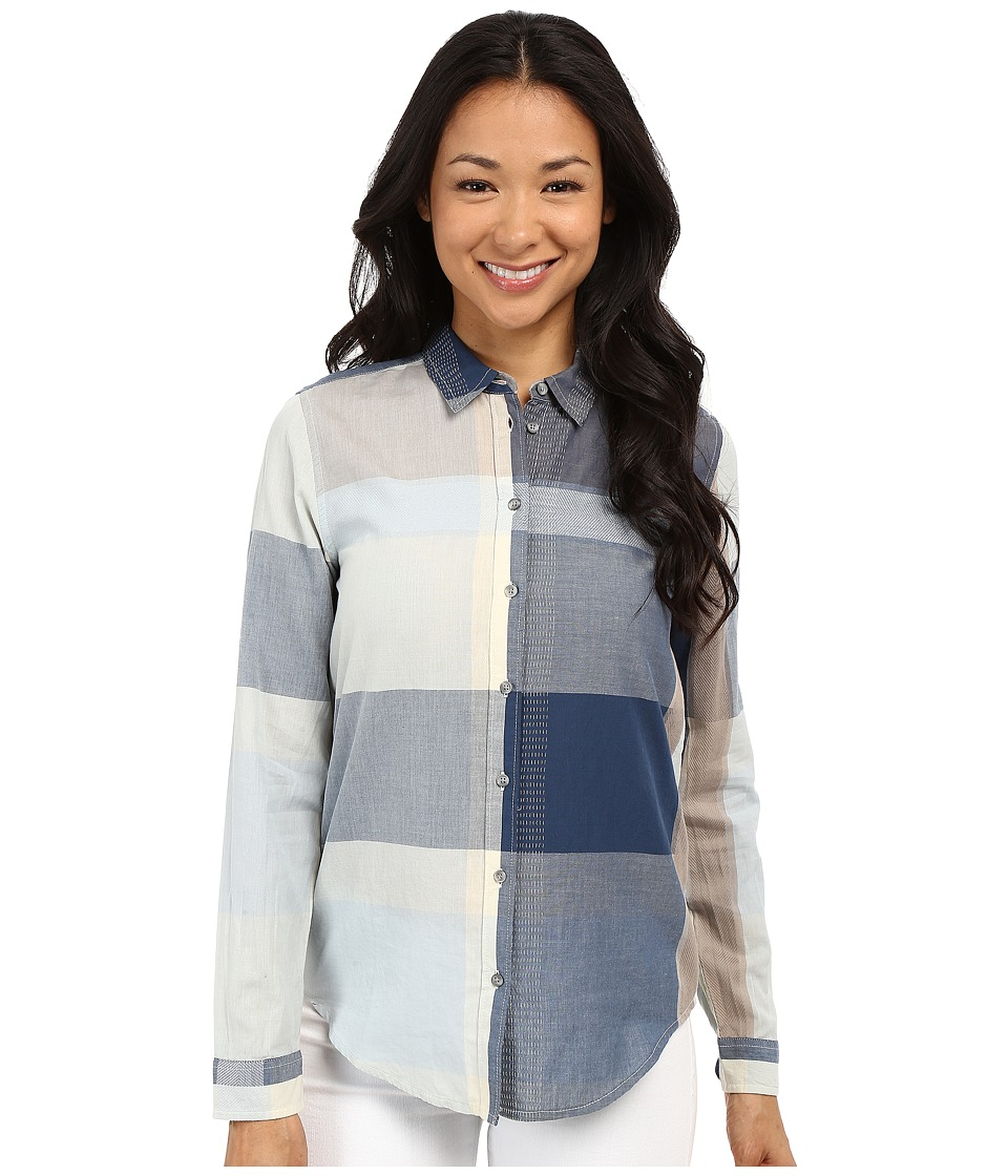 Lucky Brand - Large Plaid Shirt (Blue Multi) Women's Long Sleeve Button Up