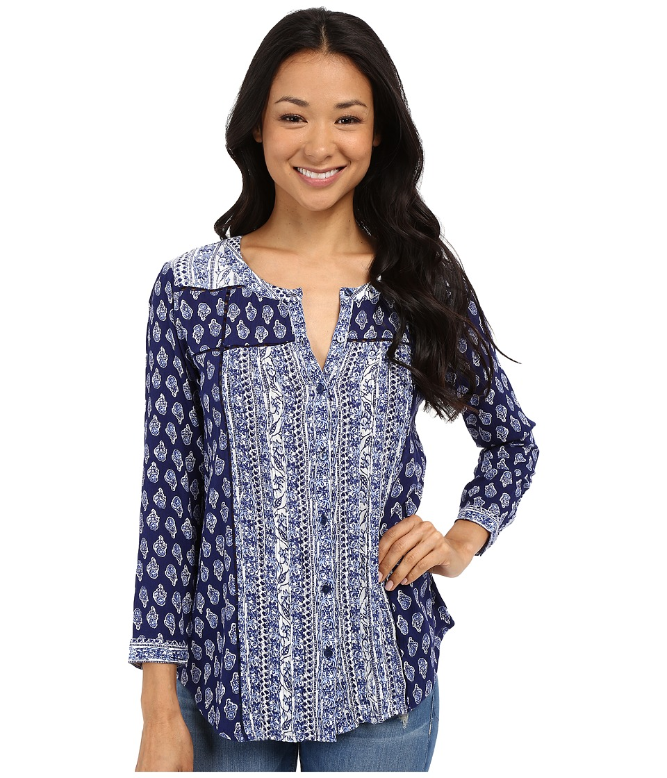 Lucky Brand - Mix Print Top (Navy Multi) Women's Blouse