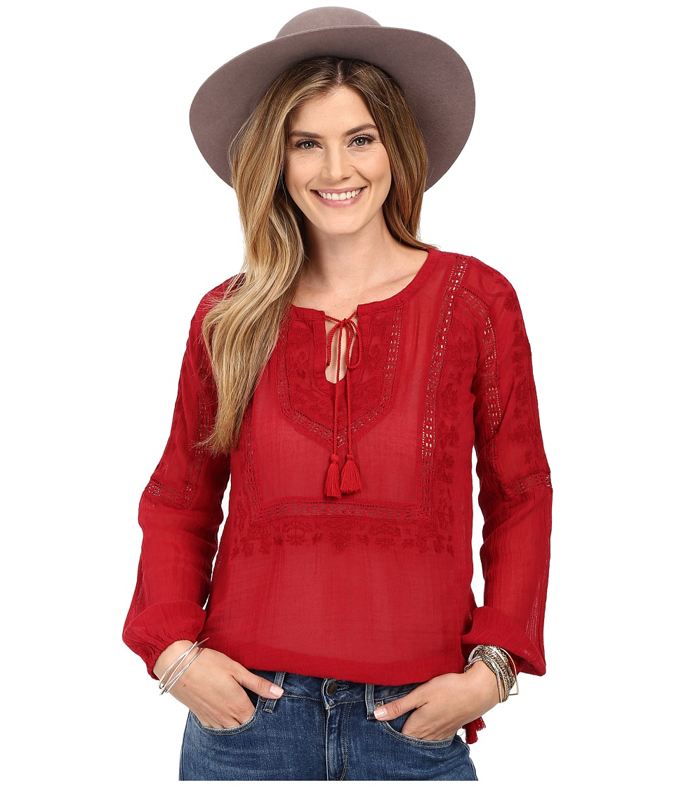 Lucky Brand - Lace Insert Top (Crimson Red) Women's Long Sleeve Pullover