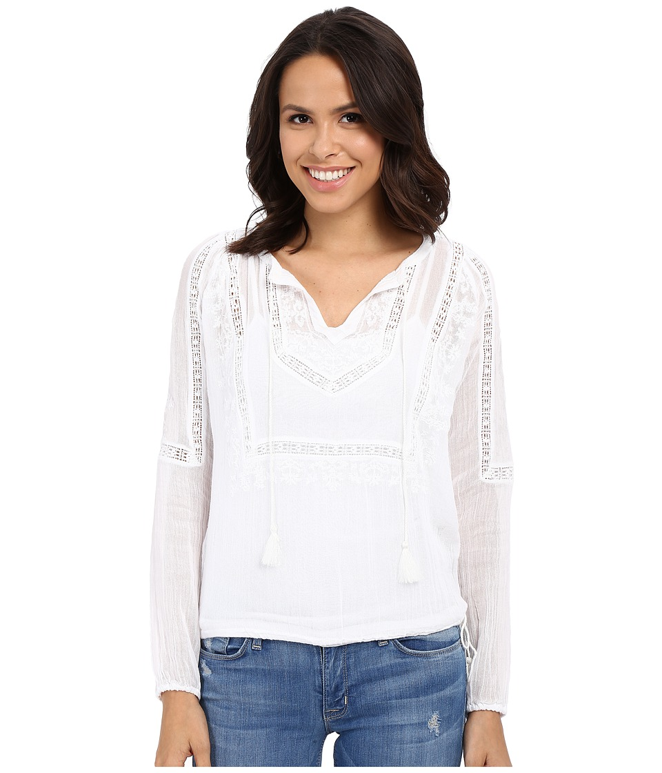 Lucky Brand - Lace Insert Top (Lucky White) Women's Long Sleeve Pullover