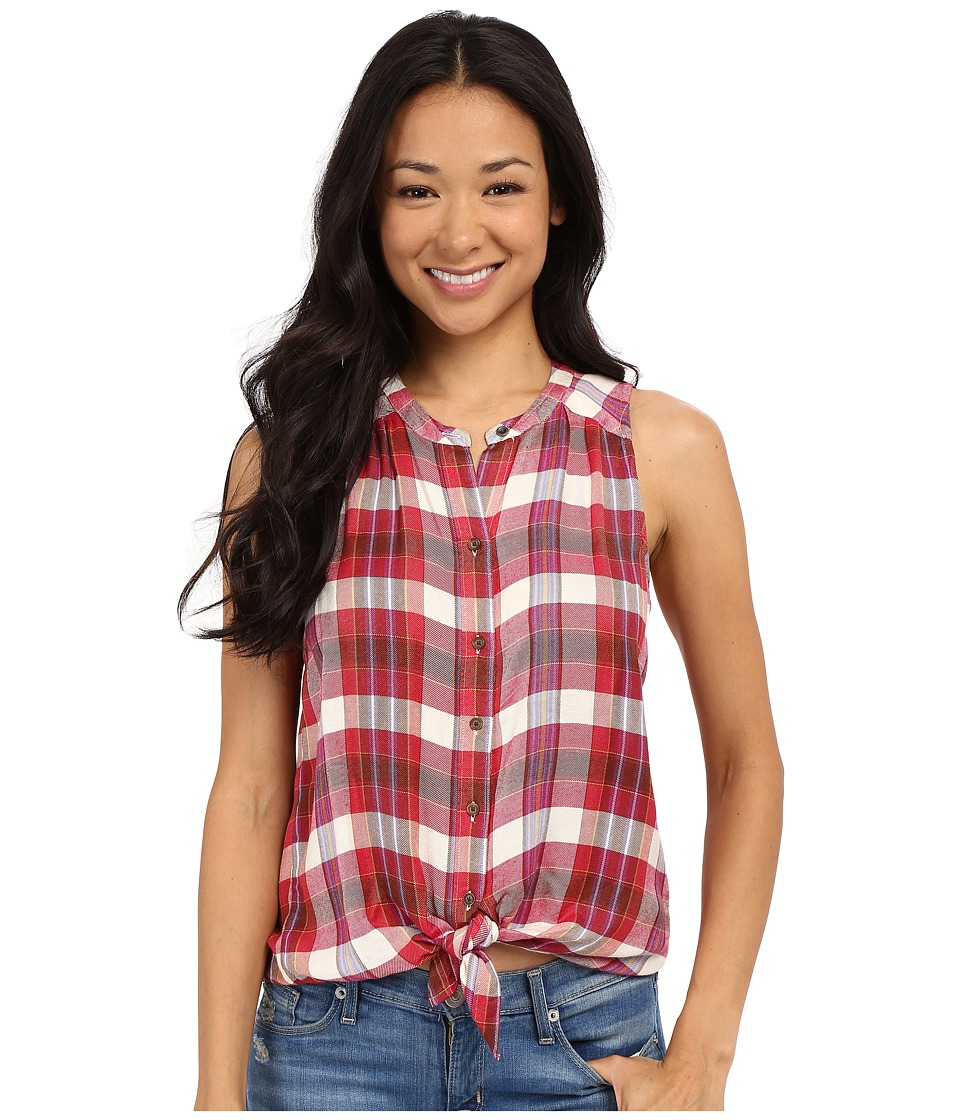 Lucky Brand - Rayon Plaid Shirt (Red Multi) Women's Sleeveless