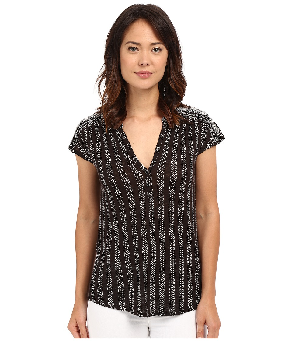 Lucky Brand - Embroidered Printed Henley (Black/White) Women's Clothing