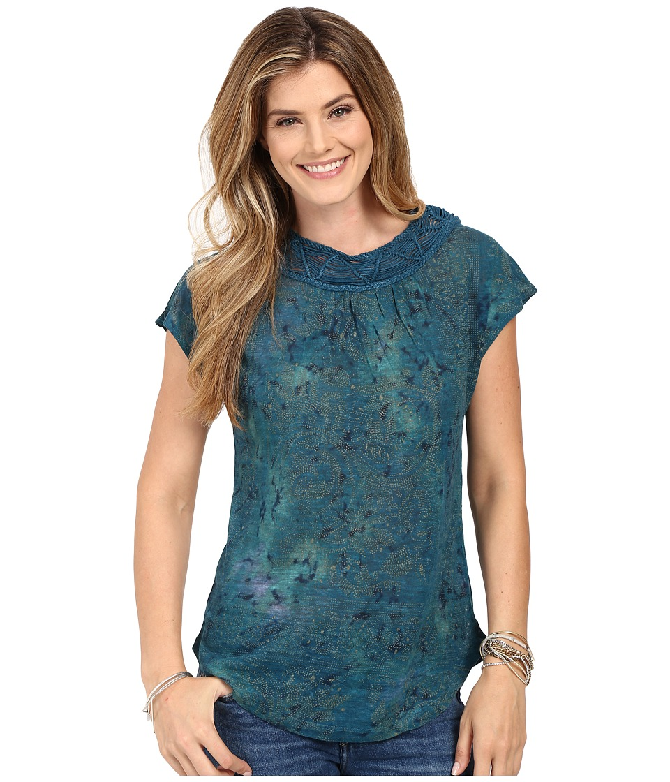 Lucky Brand - Cap Sleeve Top (Blue Multi) Women's Blouse