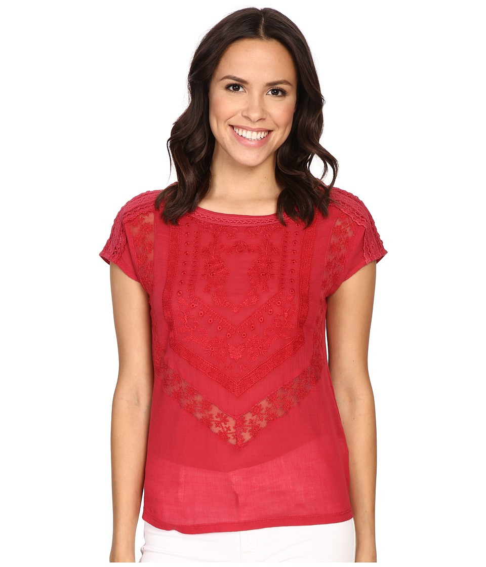 Lucky Brand - Textured Knit Top (Crimson Red) Women's Clothing