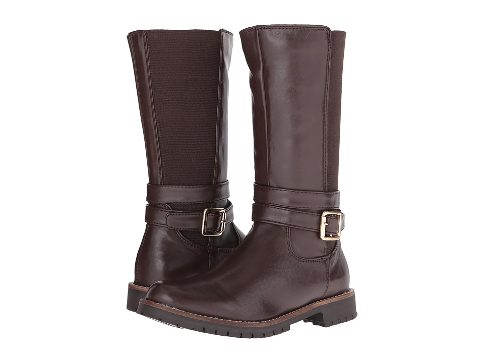 Pazitos - Double Strap Boot PU (Little Kid/Big Kid) (Brown) Girls Shoes