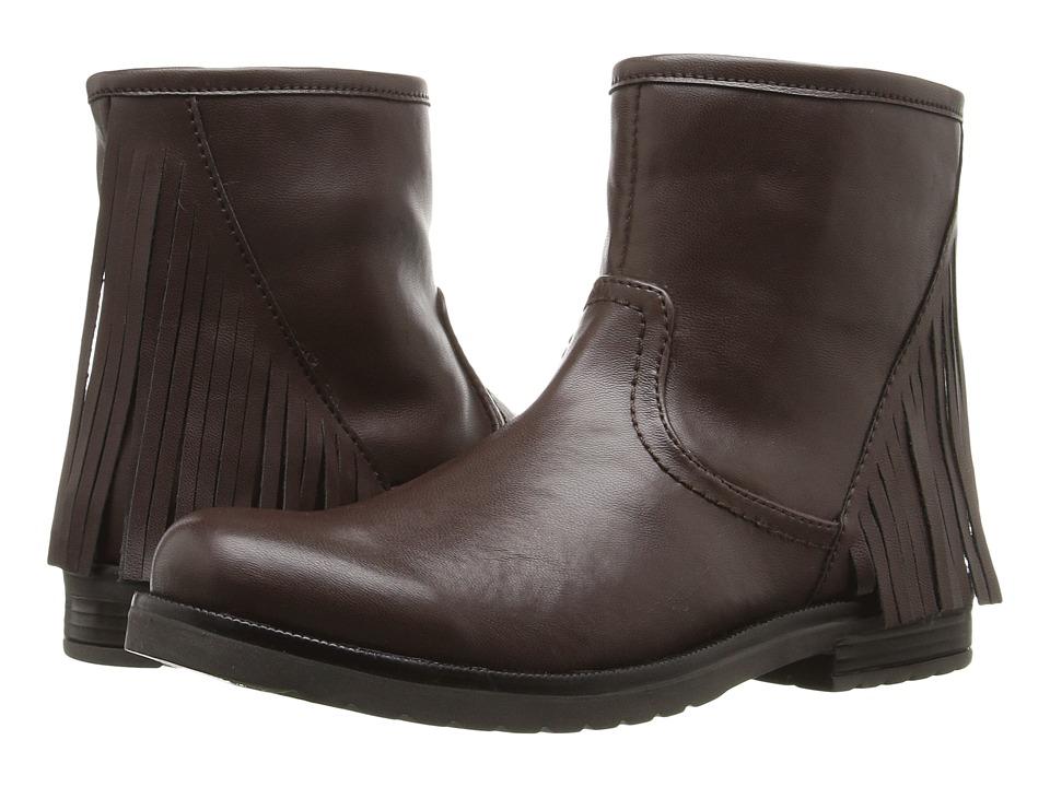 Pazitos - Sideways Short Bootie PU (Little Kid/Big Kid) (Brown) Girls Shoes
