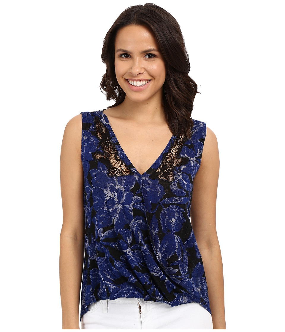 Lucky Brand - Printed Floral Top (Blue Multi) Women's Sleeveless
