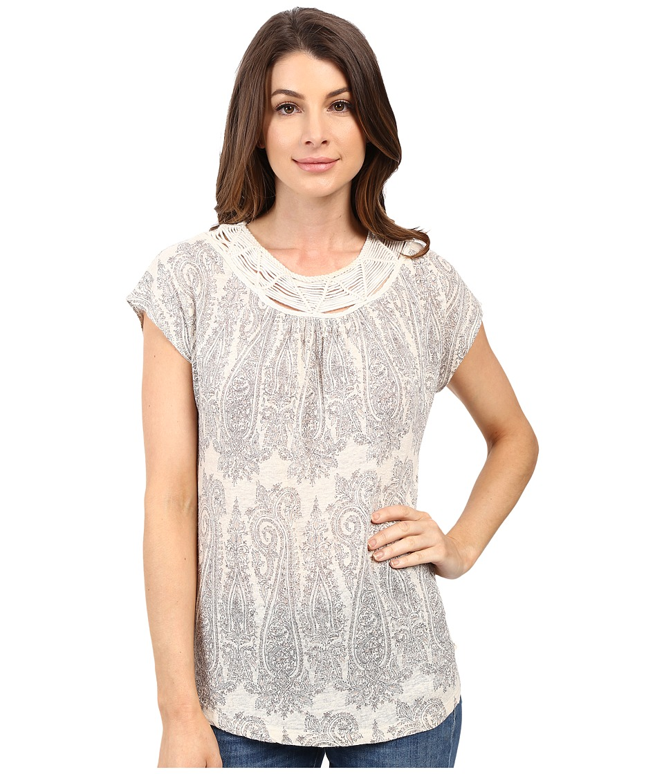 Lucky Brand - Cap Sleeve Top (White Multi) Women's Clothing