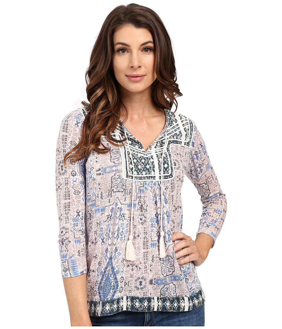 Lucky Brand - Printed Peasant Top (Blue Multi) Women's Clothing