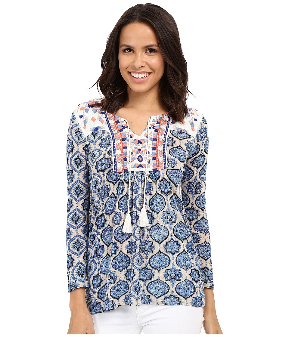 Lucky Brand - Block Print Top (Blue Multi) Women's Blouse