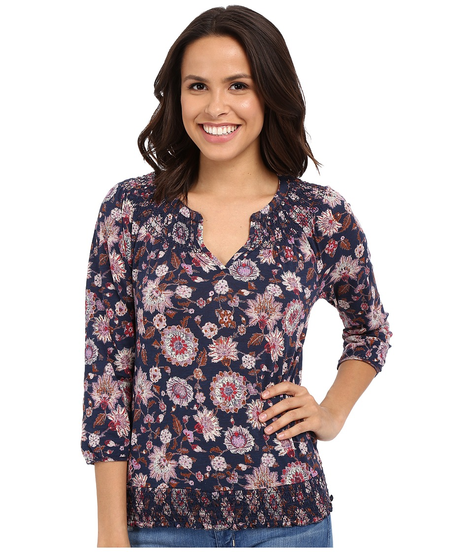 Lucky Brand - Multi Floral Top (Navy Multi) Women's Blouse
