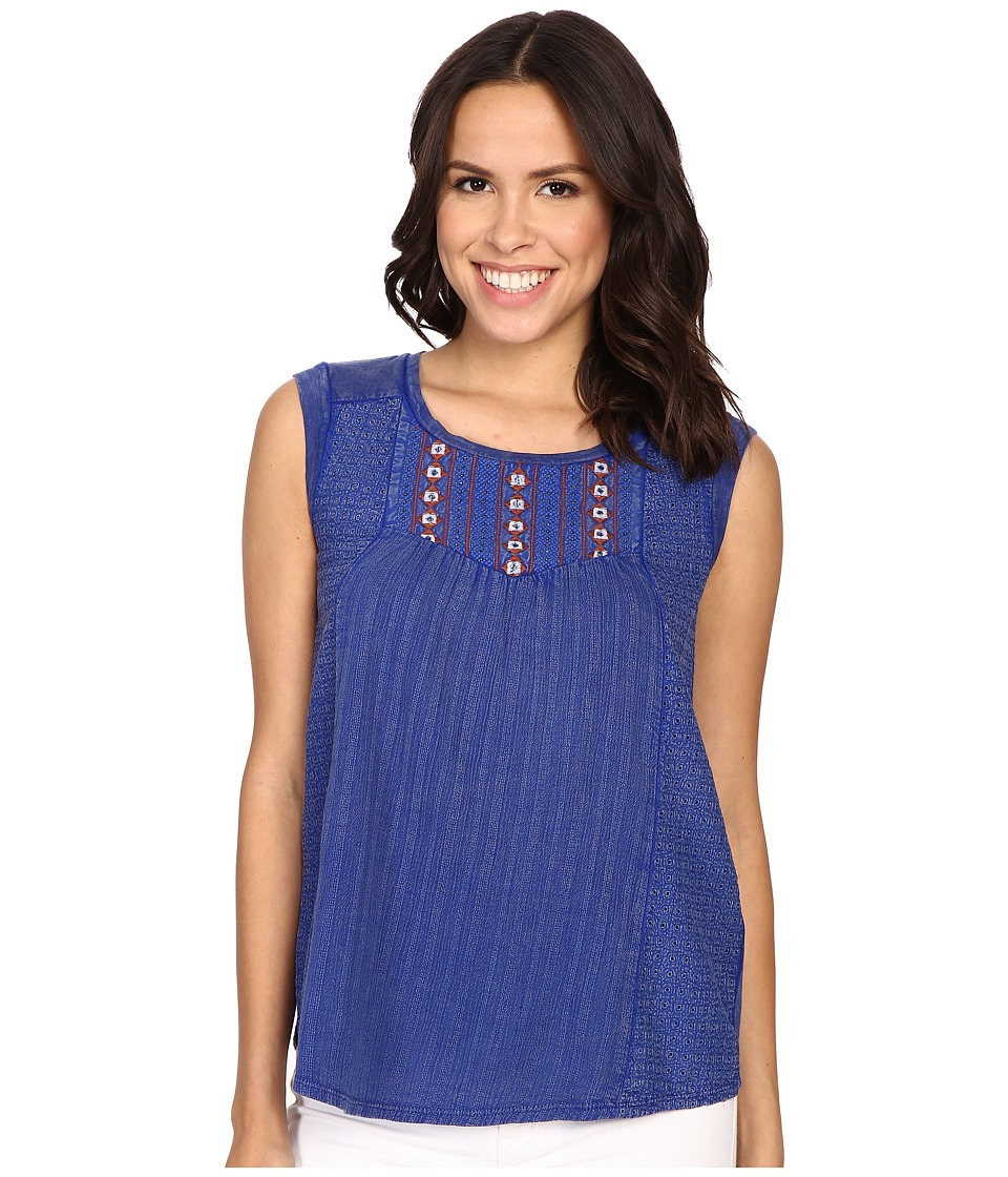 Lucky Brand - Washed Knit Top (Blue) Women's Sleeveless