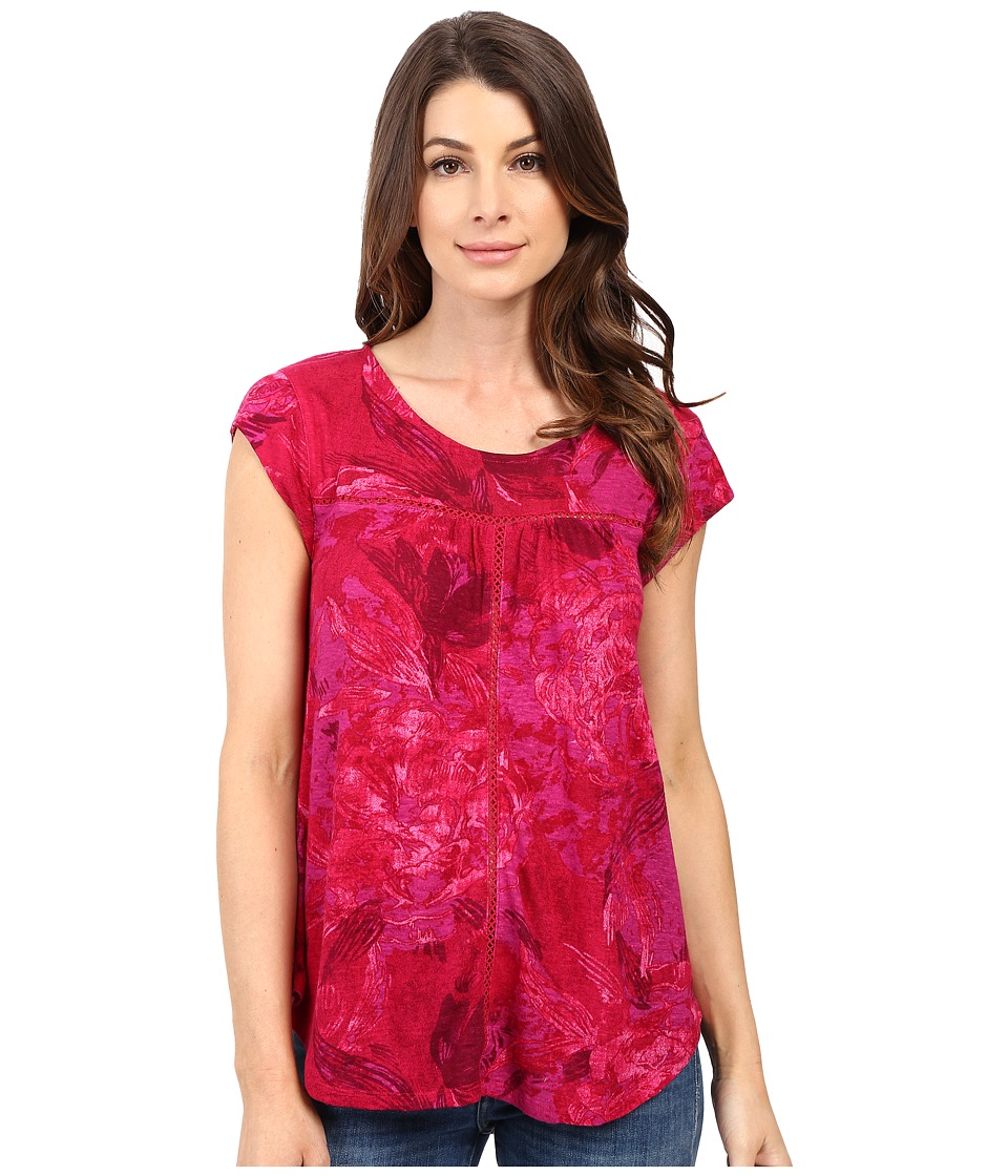 Lucky Brand - Boxy Shirttail Top (Fuchsia Multi) Women's Clothing