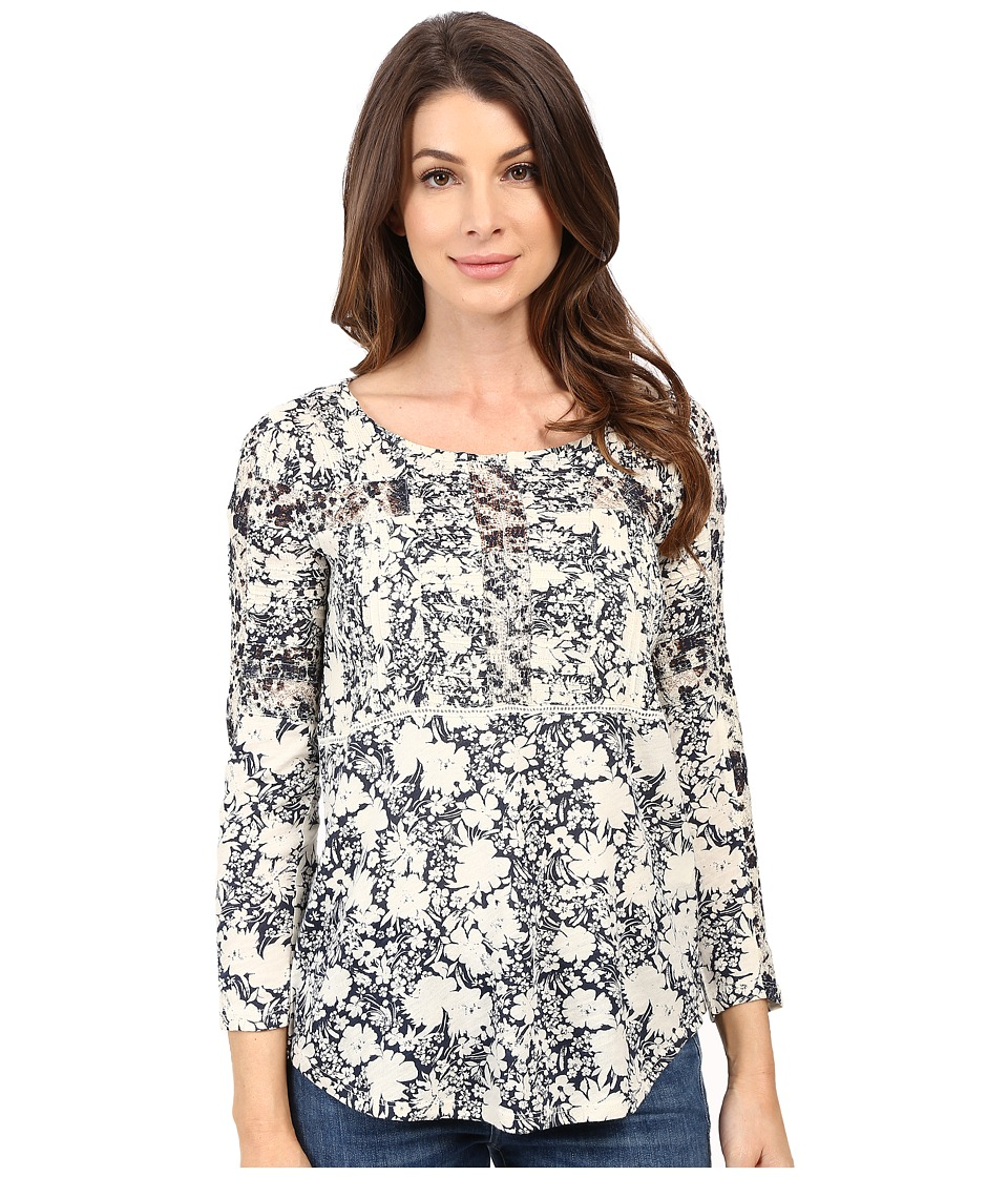 Lucky Brand - Printed Mixed Trim Top (Blue Multi) Women's Clothing