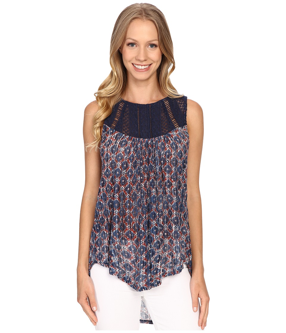 Lucky Brand - Embroidered Yoke Top (Blue Multi) Women's Clothing