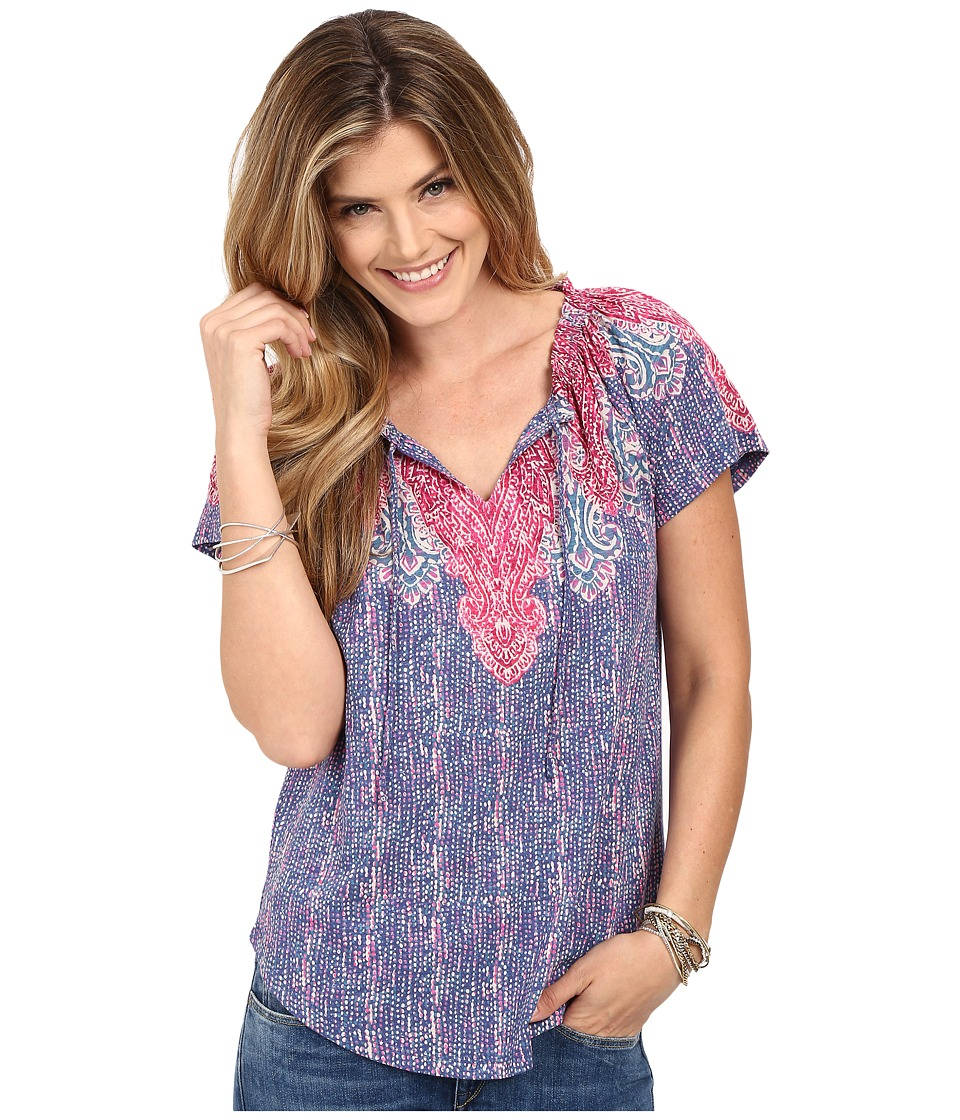 Lucky Brand - Placed Paisely Top (Blue Multi) Women's Blouse