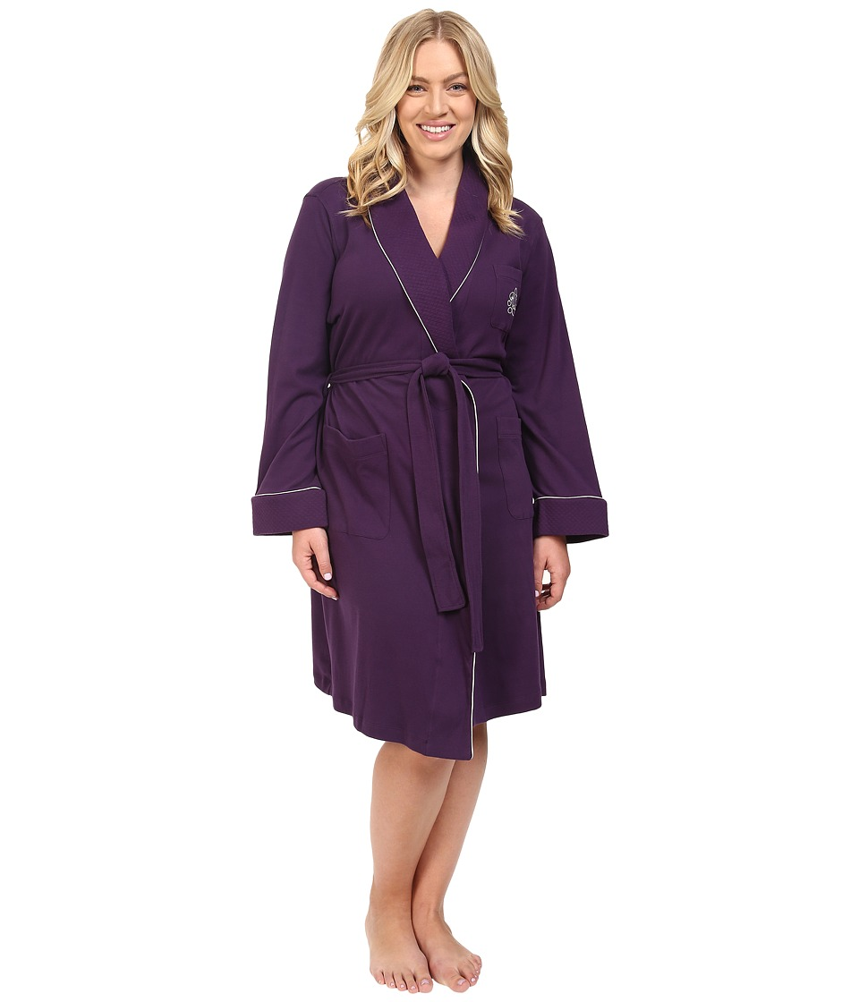 LAUREN Ralph Lauren - Plus Size Essentials Quilted Collar and Cuff Robe (Eggplant) Women's Robe