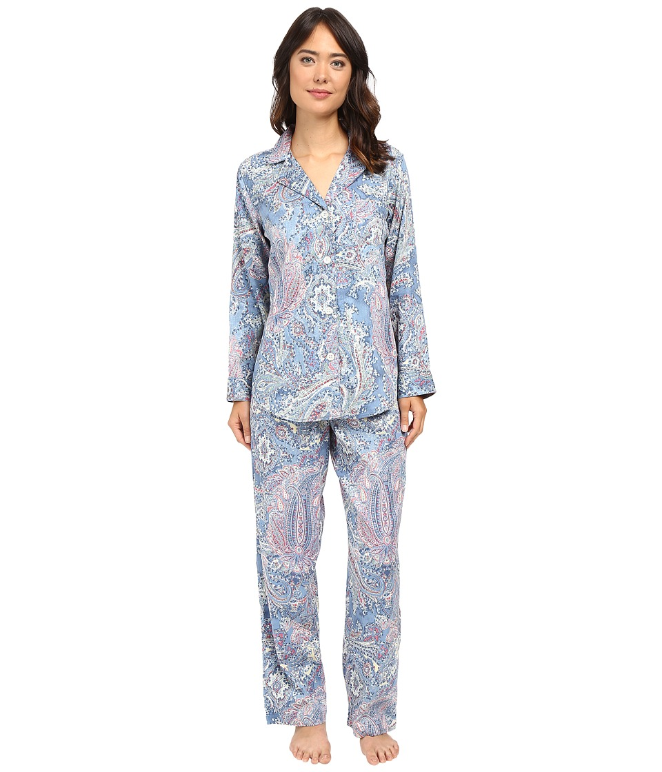 LAUREN Ralph Lauren - Cotton Sateen Pajamas (Blue Paisley) Women's Pajama Sets