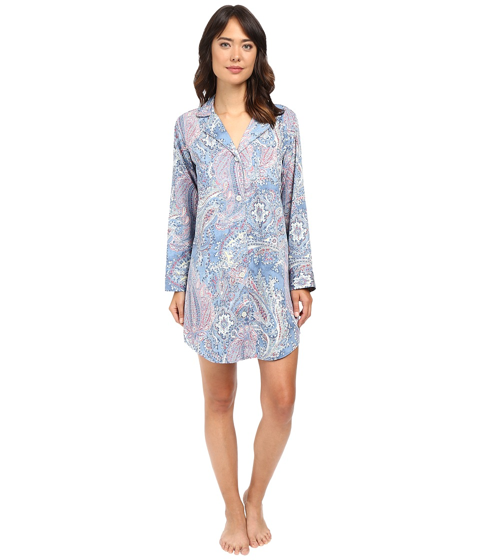 LAUREN Ralph Lauren - Cotton Sateen Sleepshirt (Blue Paisley) Women's Pajama