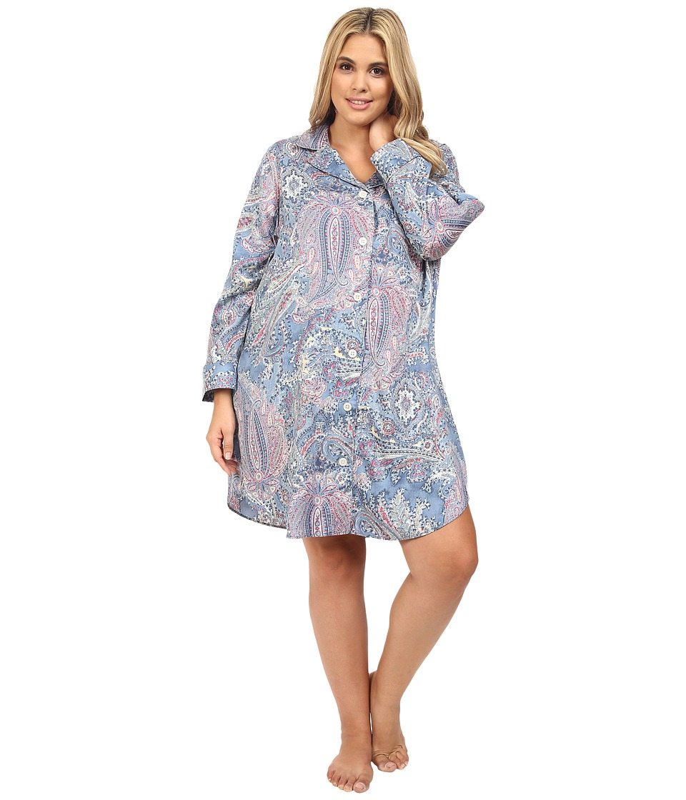 LAUREN Ralph Lauren - Plus Size Cotton Sateen Sleepshirt (Blue Paisley) Women's Pajama