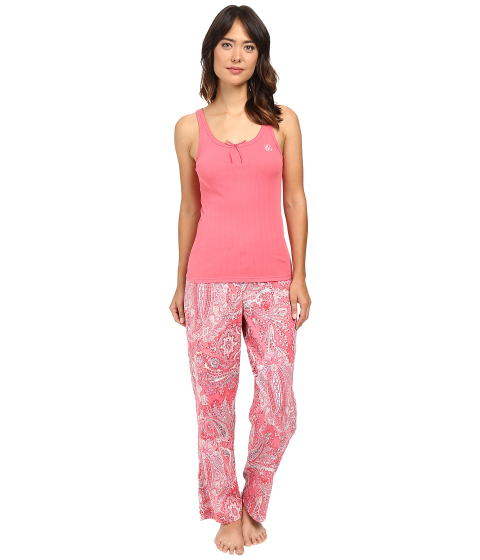 LAUREN Ralph Lauren - Woven Pants and Knit Tank Top Set (Pink Paisley) Women's Pajama Sets
