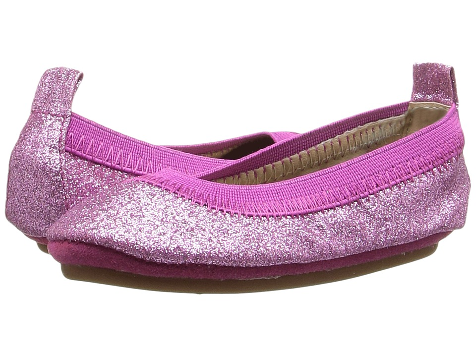 Yosi Samra Kids - Sammie Super Soft Ballet Flat (Toddler) (Fuchsia Glitter) Girls Shoes