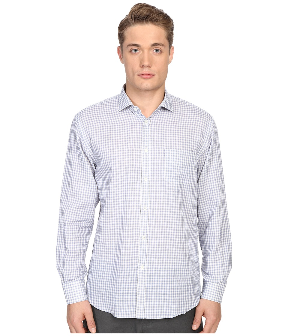 Billy Reid - John T-Shirt Button Up (Blue Gingham) Men's Long Sleeve Button Up