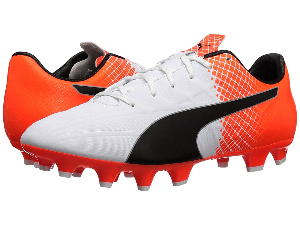 PUMA - evoSPEED 4.5 FG (Puma White/Puma Black/Shocking Orange) Men's Shoes