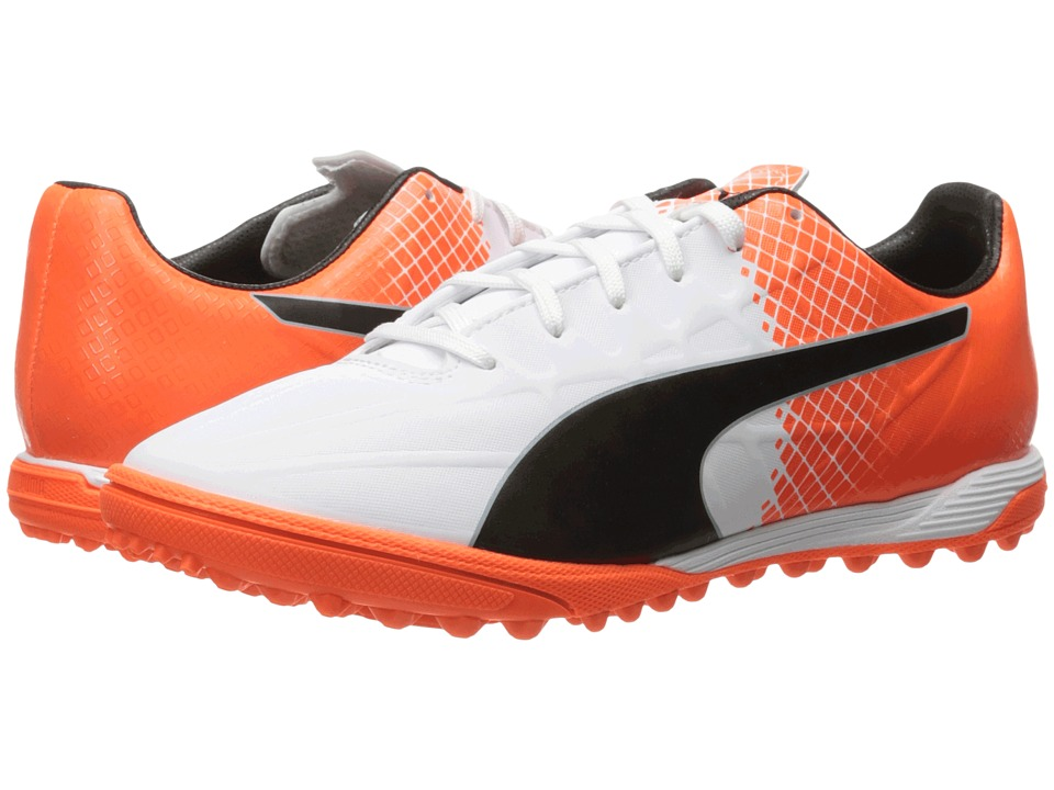 PUMA - evoSPEED 4.5 TT (Puma White/Puma Black/Shocking Orange) Men's Shoes