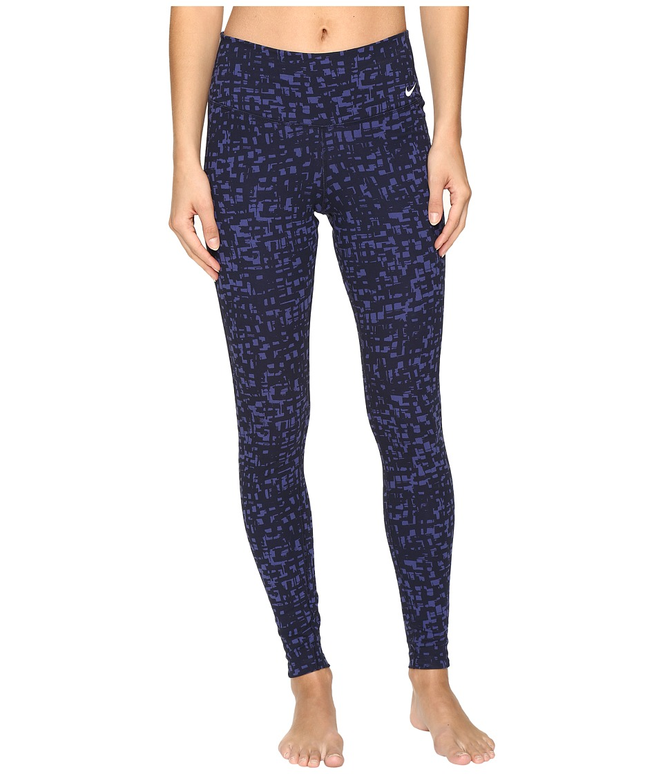 Nike - Dry Printed Tight (Dark Purple Dust/Obsidian/White) Women's Workout