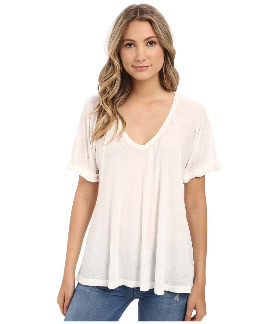 Free People - Tri Blend Free Falling Tee (Ivory) Women's Short Sleeve Pullover