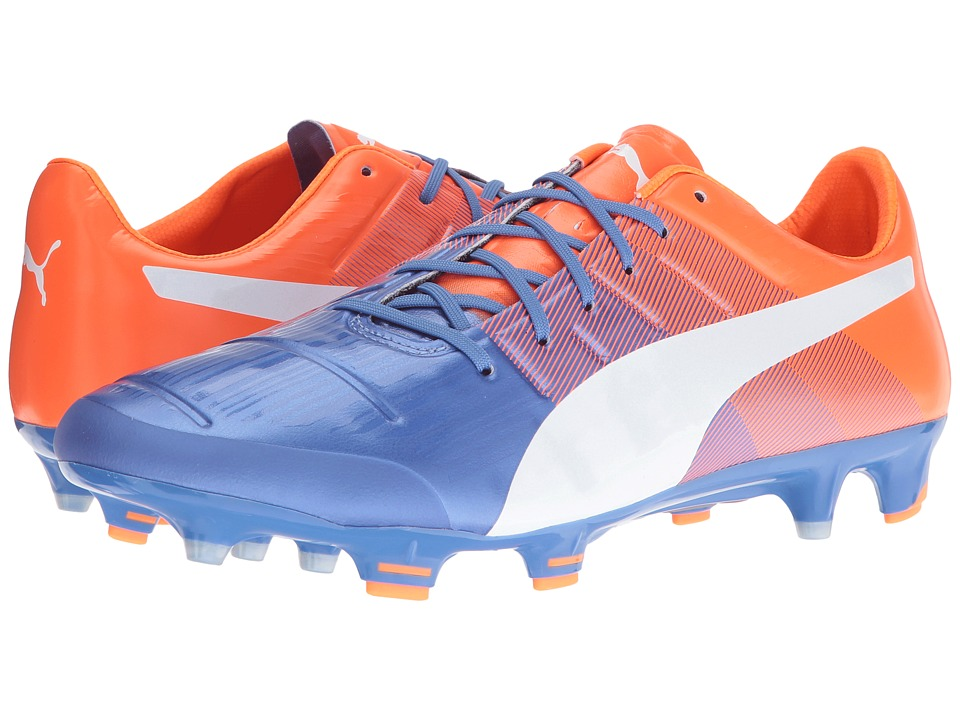 PUMA - evoPOWER 1.3 FG (Blue Yonder/Puma White/Shocking Orange) Men's Shoes