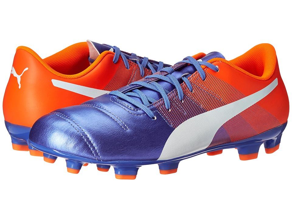 PUMA - evoPOWER 4.3 FG (Blue Yonder/Puma White/Shocking Orange) Men's Shoes