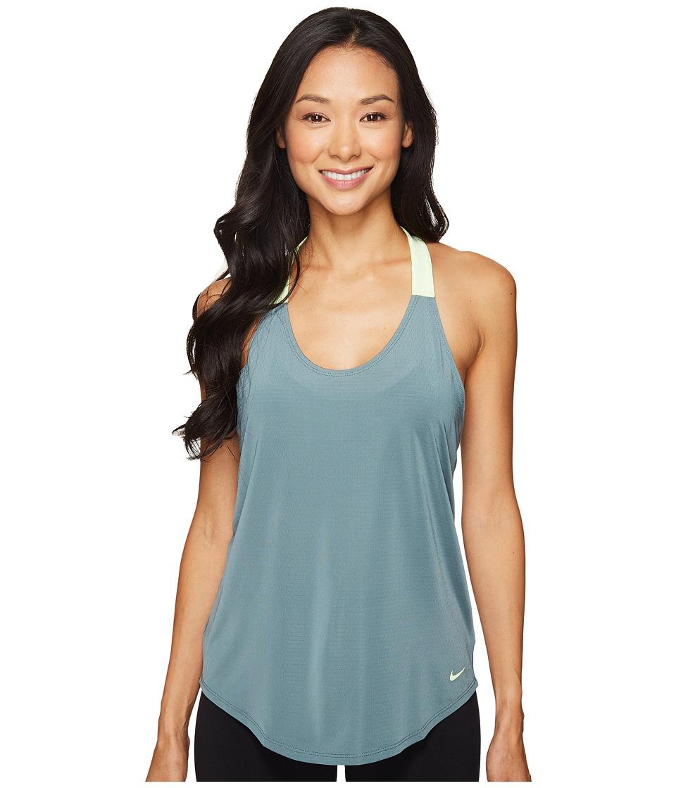Nike - Elastika Elevate Just Do It Training Tank Top (Hasta/Barely Volt/Seaweed/Barely Volt) Women's Sleeveless