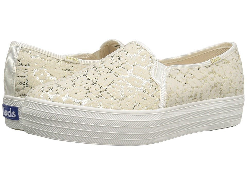 Keds - Triple Decker Flocked Leopard Sequins (Cream) Women's Shoes