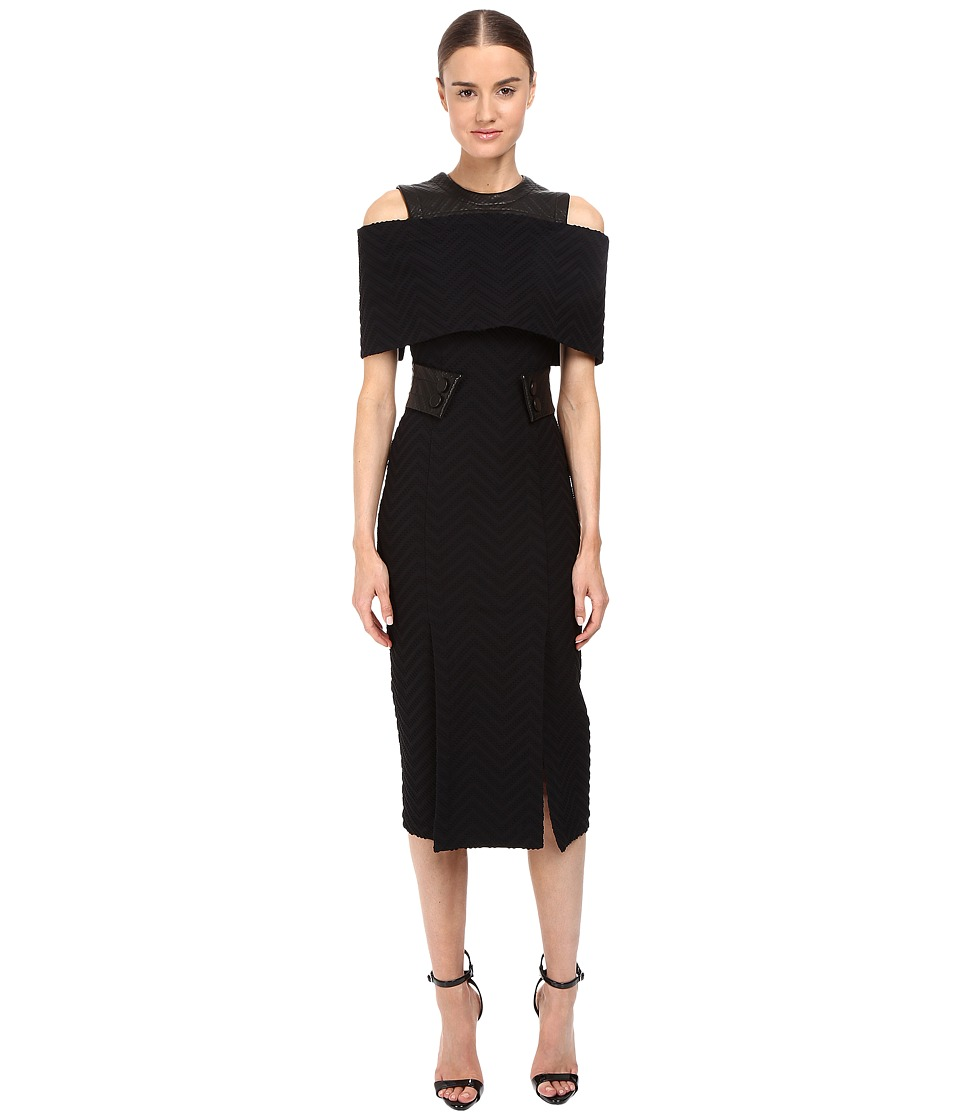 YIGAL AZROU L - Textured Cheveron and Leather Exposed Shoulder Cap Dress (Black) Women's Dress